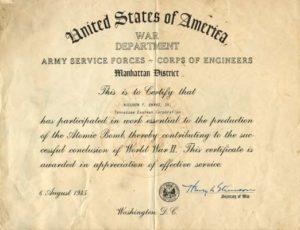 Manhattan Project Certificate